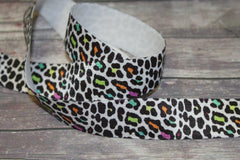 1 Yard -  7/8 inch ELASTIC  - Color Leopard on White - Animal Print