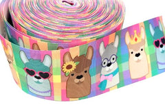 "1 yard 3 inch Girly LLAMA 7/8"" Back to School Llamas on Colorful Background 3"" cheer - Printed Grosgrain Ribbon for Hair Bow"