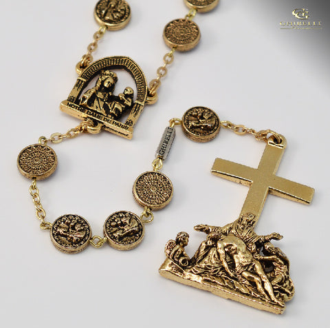 Notre Dame de Paris gold plated Rosary By Ghirelli