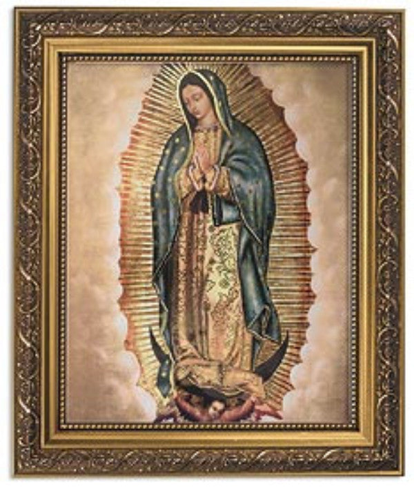 Praying Our Lady Of Guadalupe Print in Ornate Gold Frame