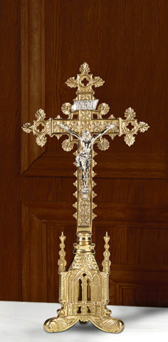 Ornate San Pietro Brass Altar Cross 17.5 Inches Tall
