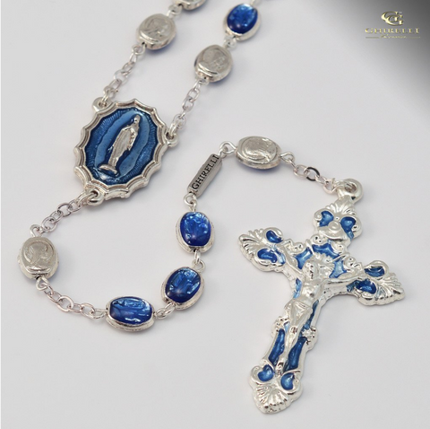 Our Lady Of Lourdes silver plated Rosary By Ghirelli Gift Boxed