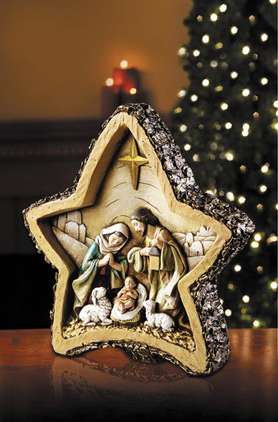 Star Shaped Jesus Woodgrain Christmas Nativity Scene