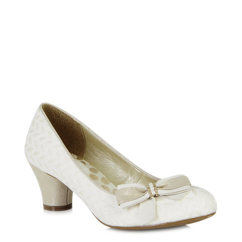 Ruby Shoo Lily court shoe Cream/Gold. Matching Palma bag also available