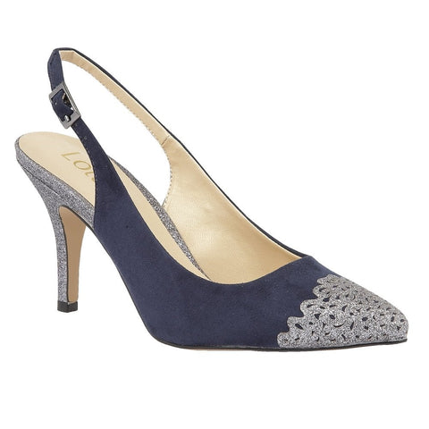 Lotus Navy & Pewter Glitz Arlind Sling-Back Court Shoes