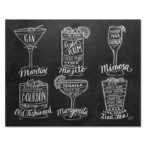 Guide to Cocktail Drinks - Print & Canvas
