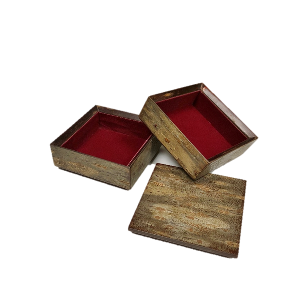Two Tier Cherry Bark Box with Frosted Natural Finish Cherry Bark