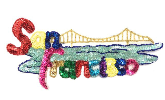 "San Francisco with Multicolored Sequins and Beads 4.5"" x 9"""