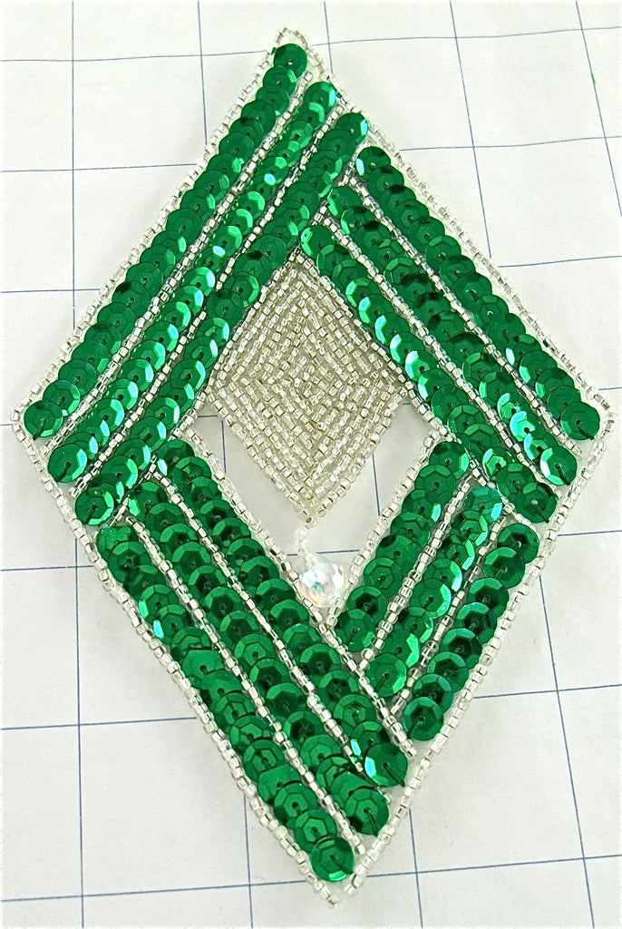 "Design Motif Diamond with Green and Silver Sequins and Beads  6"" x 4"""