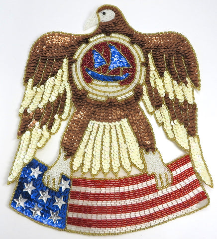 "Eagle with American Flag Multi Colored Sequins and Beads 12"" x 9"""