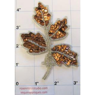 Leaf with Bronze Sequins and Silver Beaded  4""