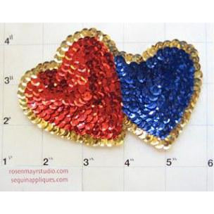 "Heart* Red and Blue Double 3.5"" x 5.5"""
