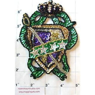 "Crest with Mardi Gras Multi-Colored Sequins and Beads 4"" x 3"""