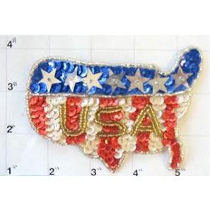 "USA Flag in Shape of US Map Small 3.5"" x 4.5"""