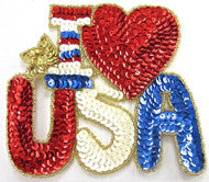 "I Love (heart)  USA Sequin Applique 5"" x 5.5"""