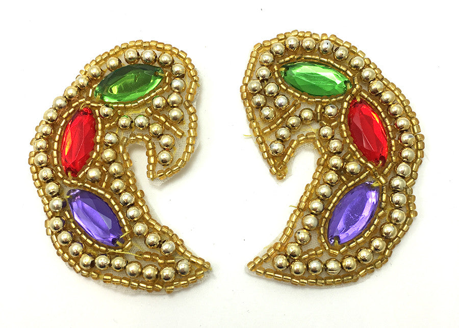 "3 PACK Designer Motif Jewel Pair Paisley Shape with Gold and Colored Stones,  x 1.5"" - Sequinappliques.com"