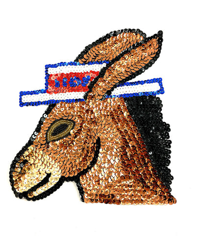 "Donkey with Voters Hat Sequin Beaded 8"" x 7.5"""