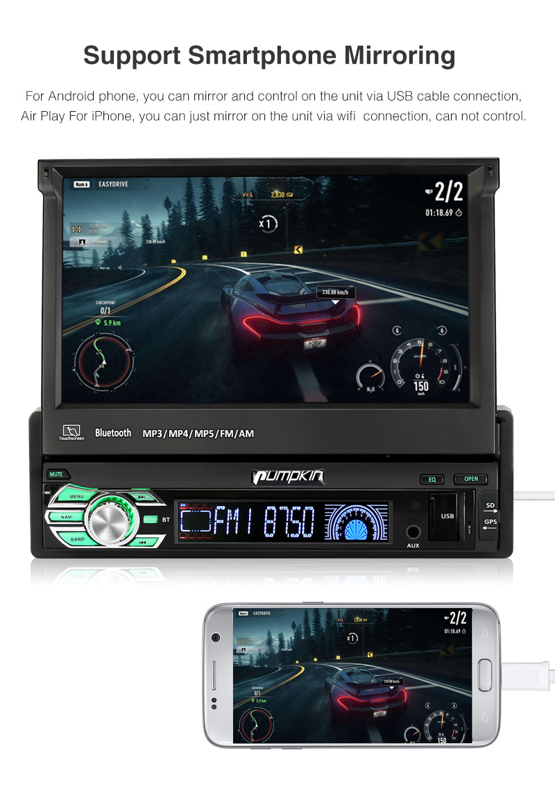 Pumpkin Single 1 Din Android 8.1 Car Radio/Stereo Octa Core 7 Inch Touchscreen with GPS Navigation Bluetooth RAM: 2GB + ROM: 32GB