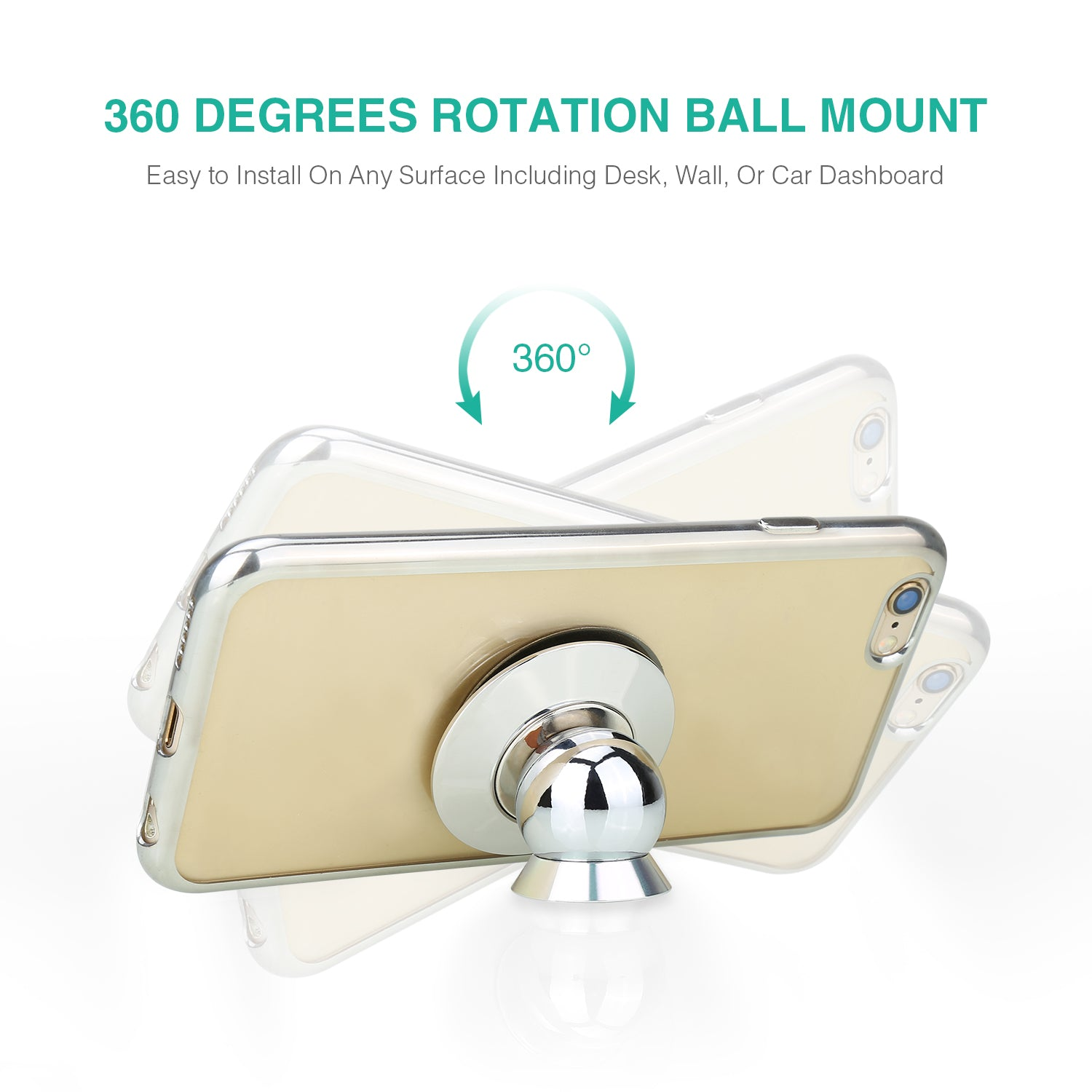 360 Degrees Magnetic Cell Phone Holder High Quality Adhesive Base for All Phone Sizes, Apple Or Android