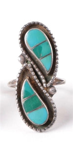Vintage Sterling Silver Paisley Turquoise Ring Size 6