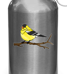 "CLR:WB - Bird - Goldfinch Perched - Stained Glass Style - Opaque - Vinyl Water Bottle Decal ©YYDC (SM 3""w x 2""h)"
