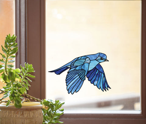 CLR:WND - Bluebird in Flight - Stained Glass Style Vinyl Decal for Windows ©YYDC (Size Choices)