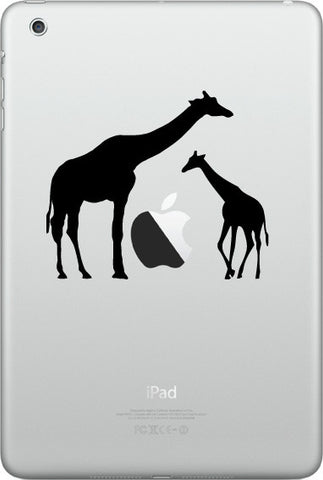 "IPAD-M - Giraffe Mom and Baby - iPad MINI - Vinyl Decal (3.5""w x 3""h) (Color Choices)"
