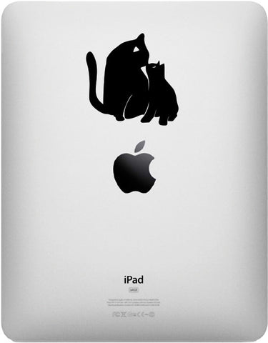"IPAD - Cat Mom & Kitten Kiss - D2 - iPAD Tablet Vinyl Decal Sticker - ©YYDC (2.5""w x 2.5""h) (BLACK)"