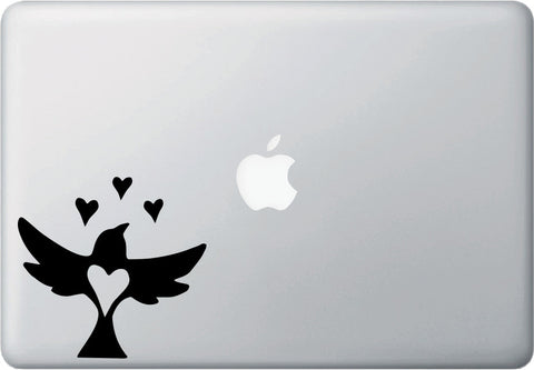 "MB - Bird Flying Hearts Corner - Laptop Vinyl Decal Sticker - © YYDC (4.5""w x 4.5""h) (LEFT or RIGHT)"