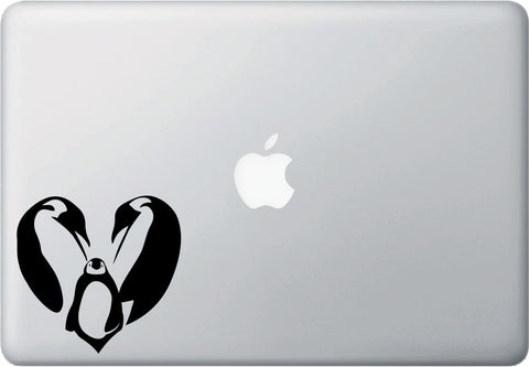 "MB - Heart Emperor Penguin Family - Macbook or Laptop Decal - ©YYDC (4""w x 4""h) (BLACK)"