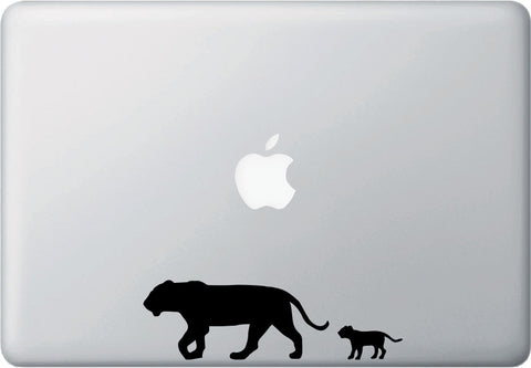 "MB - Lion Mom and Baby - Macbook or Laptop Decal - © YYDC (6""w x 2""h) (BLACK)"