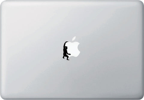 "MB - Monkey Swinging D2 - Macbook or Laptop Decal - © (.75""w x 1.75""h) (BLACK)"