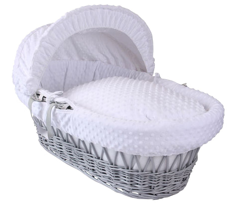 Clair de Lune Grey Wicker Moses Basket - Dimple white