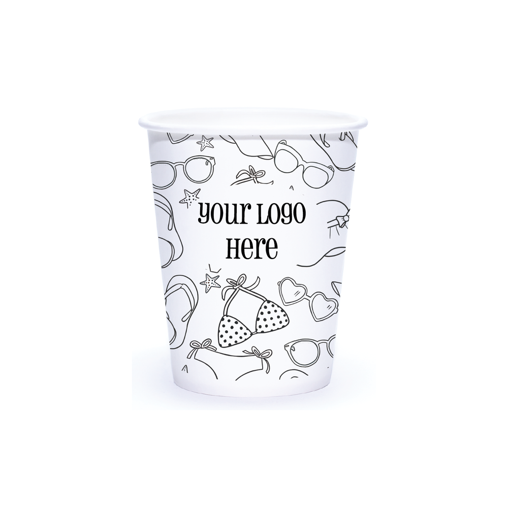 Summer 8oz Custom Printed Single Wall Paper Hot Cups