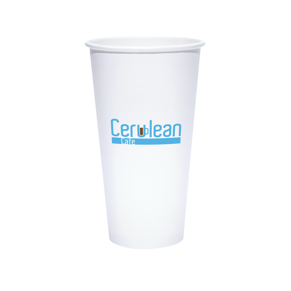 22oz Custom Printed White Paper Cold Cups