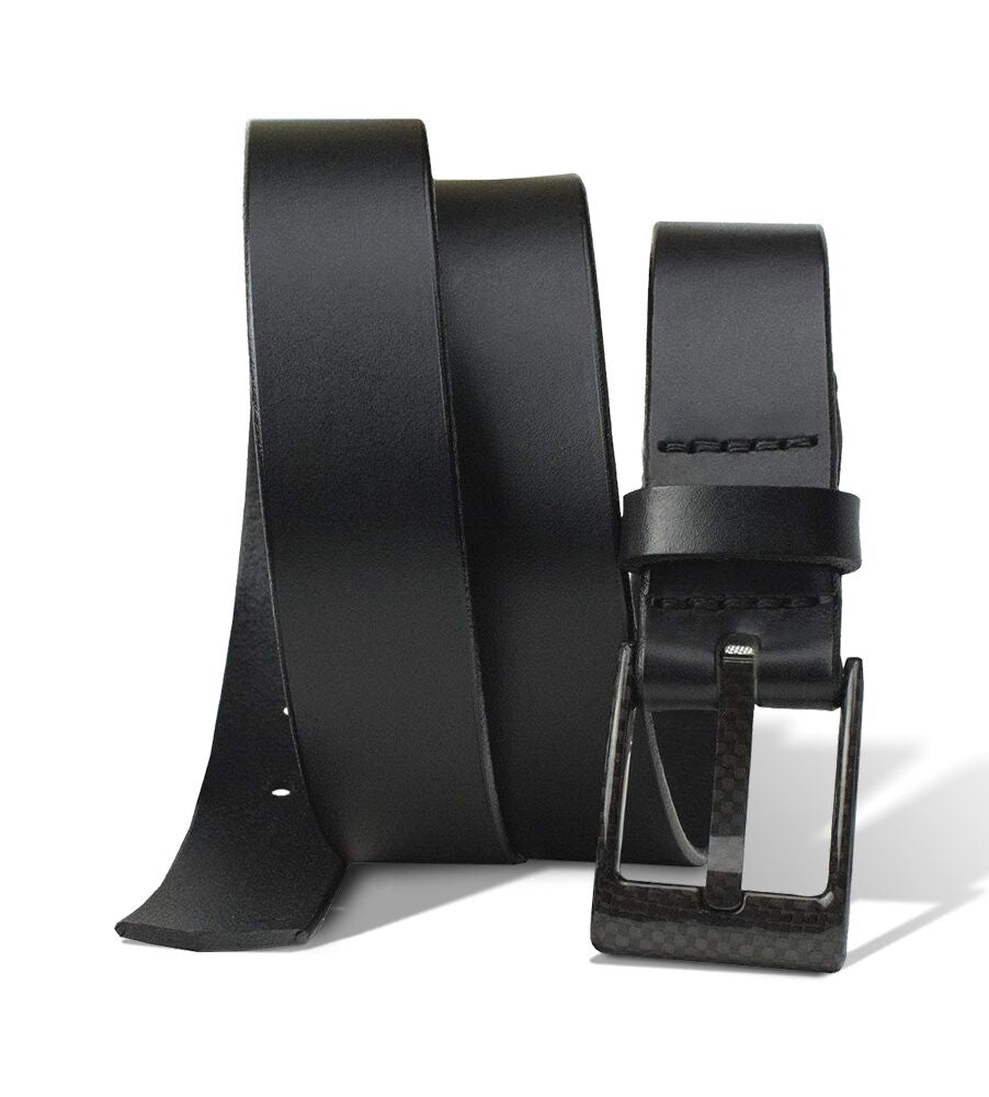 The Classified Black Leather Belt  by Nickel Smart®