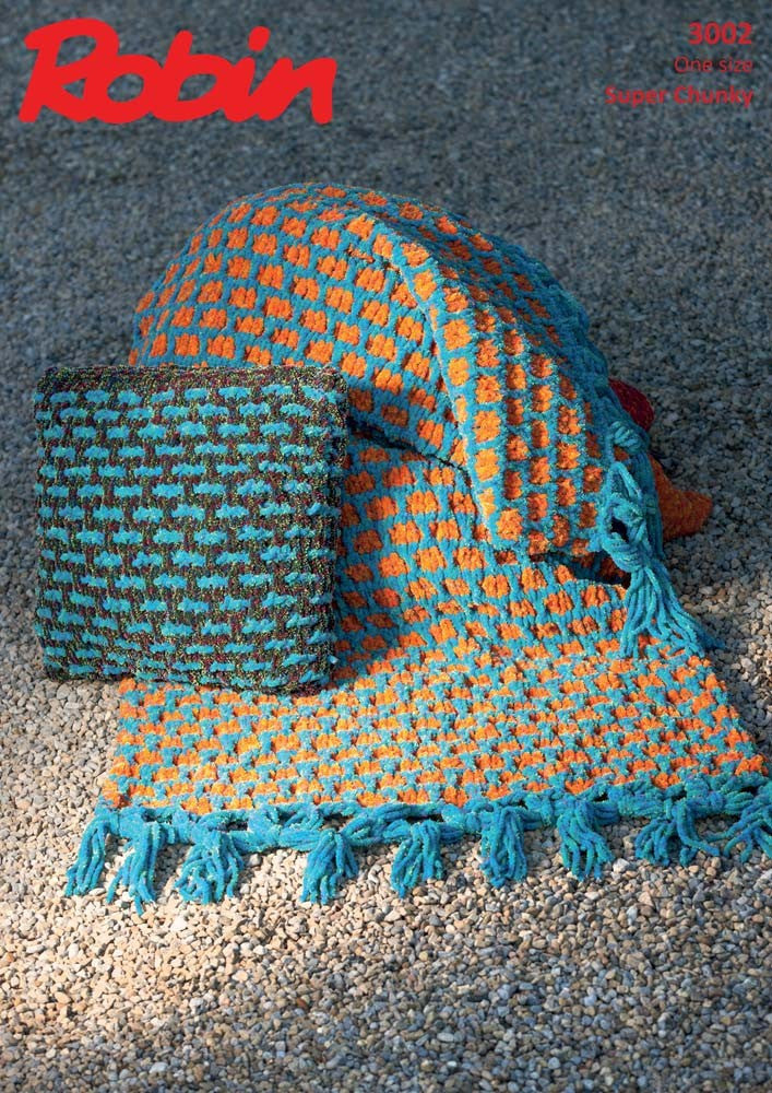 Robin Firecracker Super Chunky Pattern 3002 - Knitted Throw & Cushion Cover