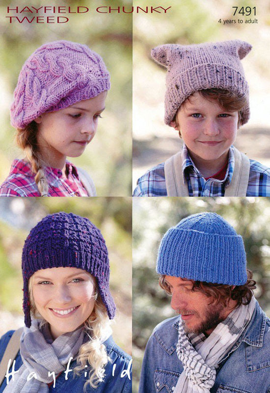 Hayfield Chunky Tweed Pattern 7491 - Hats