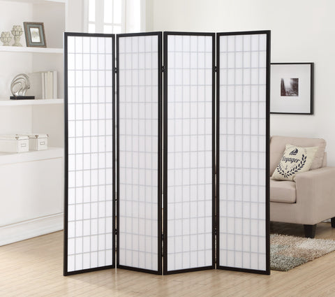 4 Panel Black Oriental Shoji Screen / Room Divider