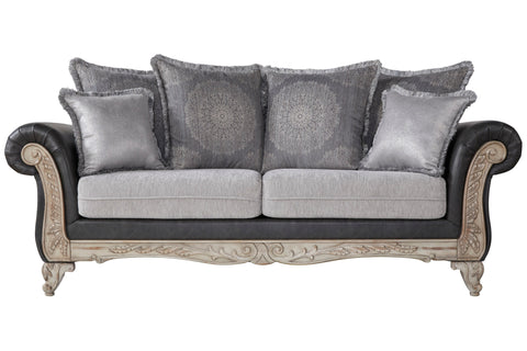 San Marino 2-Tone Fabric Wooden Frame Sofa, Gray