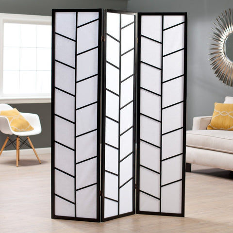Climbing 3-Panel Screen Room Divider - Black
