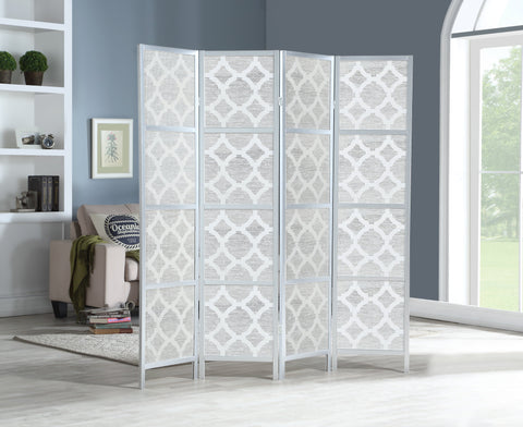 Quarterfoil infused Diamond Design 4-Panel Room Divider, Silver
