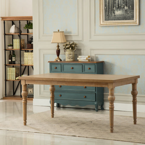 Habitanian Urban Style Wood White Wash Turned-Leg Dining Table