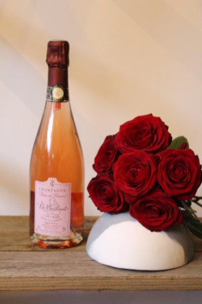Rose de Reserve Champagne & 6 Red Roses