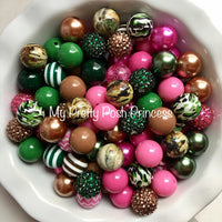Pink Camo (Brown, Pink, Dark Green) Themed Chunky Bubble Gum Bead Lot *Read Entire Product Description Before Purchase