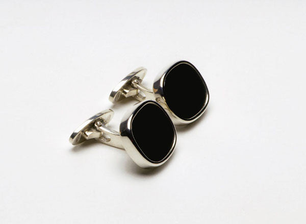 Cuff-links in sterling silver with black Onyx. $490.00
