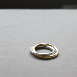 Kerry Seaton Silver and 18ct Yellow Gold joined two band ring