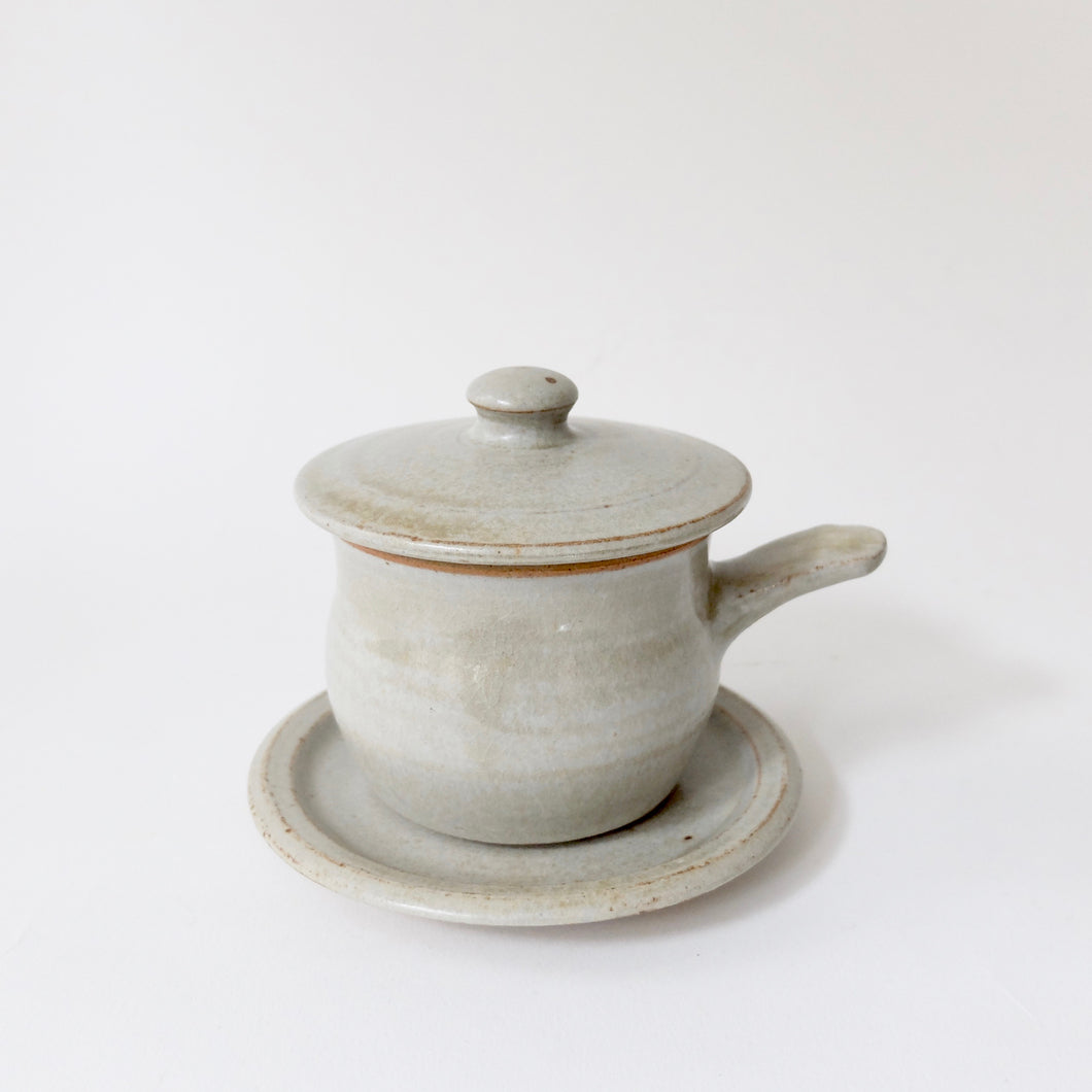 Winchcombe willow ash glaze lidded soup pot and saucer set