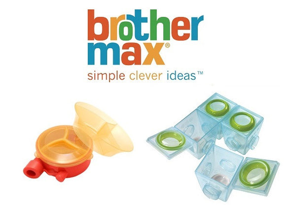 Brother Max Bundle of 2nd Stage Weaning Pots and Slimline Milk Powder Dispenser