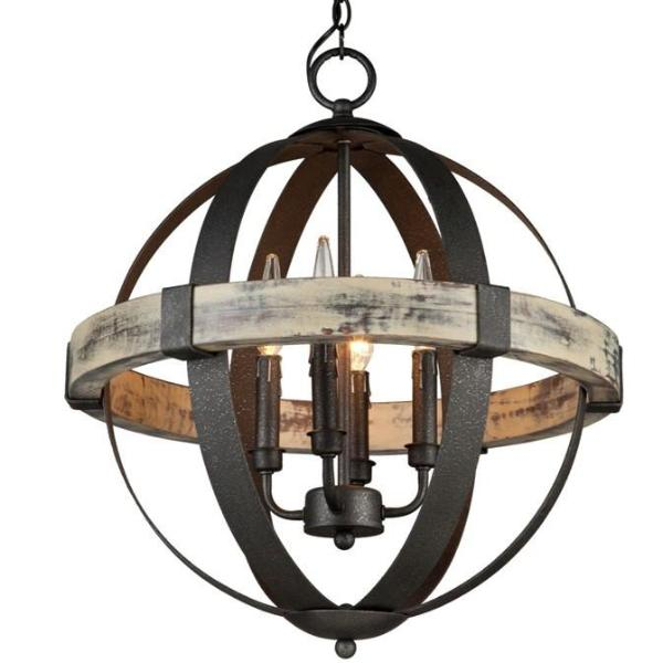 Costello 4 Light Black Metal and Wood Orb Chandelier by Artcraft Lighting AC10015